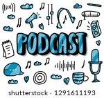 podcast screen with handwritten ... | Shutterstock .eps vector #1291611193