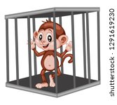 cute cartoon monkey inside... | Shutterstock .eps vector #1291619230