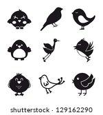 birds icons over white...