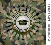 graduation cap icon on camo... | Shutterstock .eps vector #1291625653
