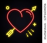 light heart with arrow neon... | Shutterstock .eps vector #1291634056