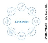 8 chicken icons. trendy chicken ... | Shutterstock .eps vector #1291637503