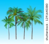 vector of palm tree icons on... | Shutterstock .eps vector #1291640380