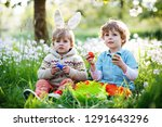 two little kids boys and... | Shutterstock . vector #1291643296