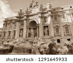 the trevi fountain or fontana... | Shutterstock . vector #1291645933