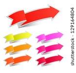 set of arrow stickers  vector... | Shutterstock .eps vector #129164804