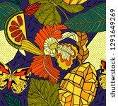 seamless pattern design  exotic ... | Shutterstock .eps vector #1291649269