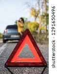 woman with broken car and... | Shutterstock . vector #1291650496