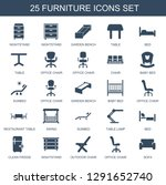25 furniture icons. trendy... | Shutterstock .eps vector #1291652740