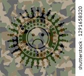 sad face icon inside camo emblem | Shutterstock .eps vector #1291658320