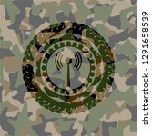 antenna signal icon on camo... | Shutterstock .eps vector #1291658539