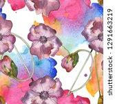 purple red poppy floral... | Shutterstock . vector #1291663219