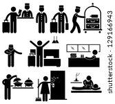 hotel services receptionist... | Shutterstock . vector #129166943