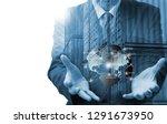 double exposure of man with... | Shutterstock . vector #1291673950