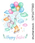 watercolor happy easter bunny... | Shutterstock . vector #1291677583
