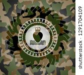 ship icon inside camo texture | Shutterstock .eps vector #1291704109