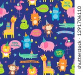 seamless pattern of cute safari ... | Shutterstock .eps vector #1291706110