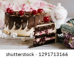 sweet fruit cake with layers on ... | Shutterstock . vector #1291713166