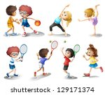 illustration of kids exercising ... | Shutterstock .eps vector #129171374