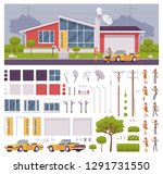 house creation set with modern... | Shutterstock .eps vector #1291731550