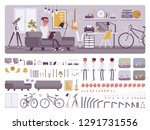 freelancer boy room interior ... | Shutterstock .eps vector #1291731556