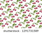 watercolor cherry pattern. red... | Shutterstock . vector #1291731589