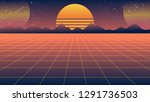 bright retro orange blue... | Shutterstock .eps vector #1291736503