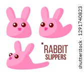 rabbit slippers vector. pink... | Shutterstock .eps vector #1291740823