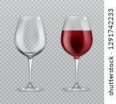 realistic wineglass. empty and... | Shutterstock .eps vector #1291742233