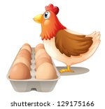 Illustration Of A Hen And Her...
