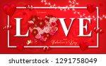 happy valentine's day banner... | Shutterstock . vector #1291758049