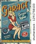 retro garage service colorful... | Shutterstock .eps vector #1291758103