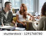 group of students study in the...   Shutterstock . vector #1291768780