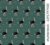 seamless pattern ostrich animal ... | Shutterstock .eps vector #1291797430