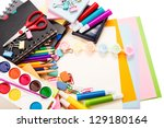 school and office stationary... | Shutterstock . vector #129180164