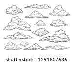 sketch clouds. hand drawn sky... | Shutterstock .eps vector #1291807636