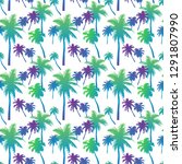 seamless pattern with palm... | Shutterstock .eps vector #1291807990