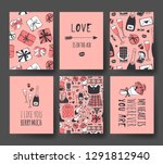 set of hand drawn templates... | Shutterstock .eps vector #1291812940