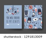 set of hand drawn templates... | Shutterstock .eps vector #1291813009