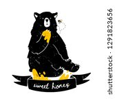 sweet honey. cute black bear... | Shutterstock .eps vector #1291823656