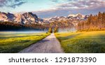 amazing summer sunrise in... | Shutterstock . vector #1291873390