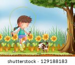 illustration of a girl playing... | Shutterstock .eps vector #129188183
