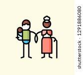 family life flat icon vector... | Shutterstock .eps vector #1291886080