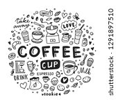 coffee hot drinks round concept.... | Shutterstock .eps vector #1291897510