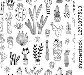 black and white cacti seamless...   Shutterstock .eps vector #1291897513