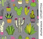 Cacti And Succulents Seamless...