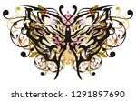floral butterfly wings with... | Shutterstock .eps vector #1291897690