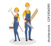 isolated construction workers... | Shutterstock . vector #1291906090