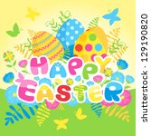 happy easter card with eggs and ... | Shutterstock .eps vector #129190820