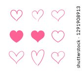heart hand drawn icons set... | Shutterstock .eps vector #1291908913